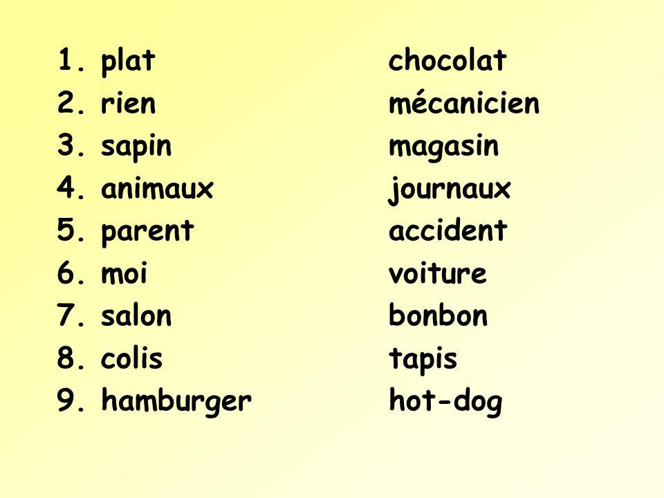 1.platchocolat 2.rienmécanicien 3.sapinmagasin 4.animauxjournaux 5.parentaccident 6.moivoiture 7.salonbonbon 8.colistapis 9.hamburgerhot-dog