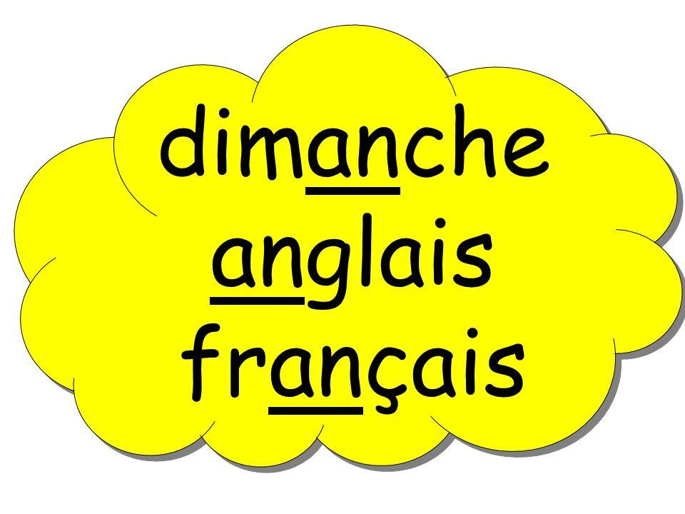 dimanche anglais français