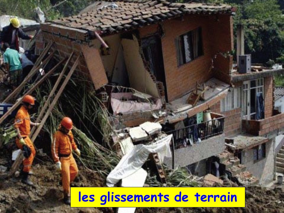 les glissements de terrain