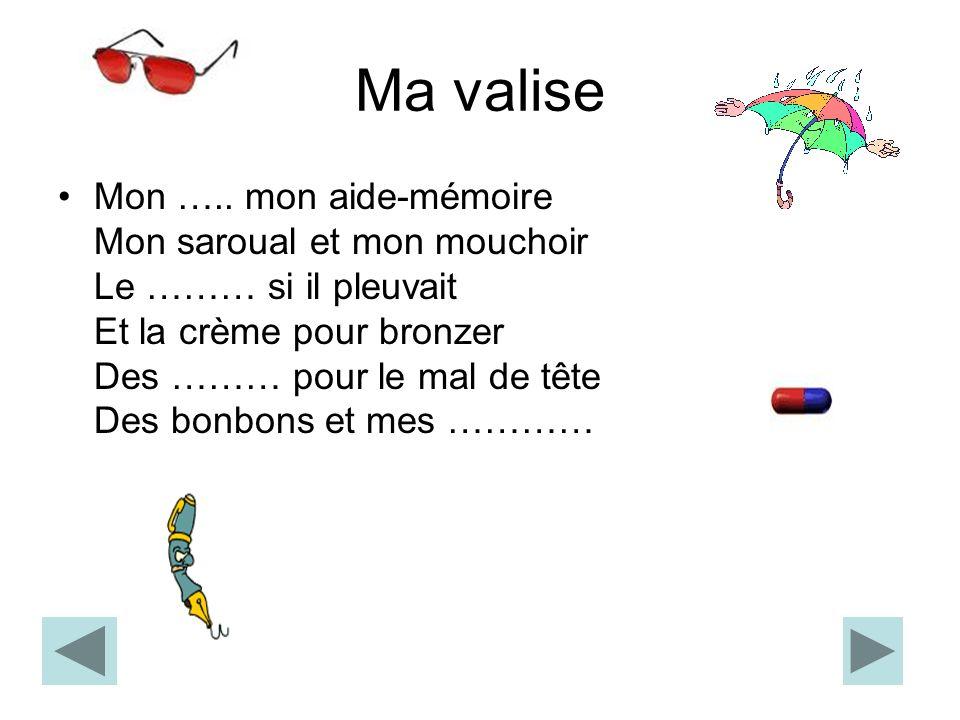 Ma valise Du vocabulaire Les lunettes Le parapluie Le cachet Le stylo