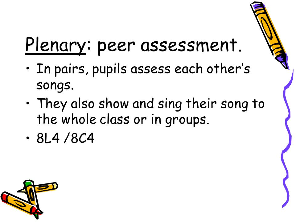 Plenary: peer assessment.In pairs, pupils assess each others songs.