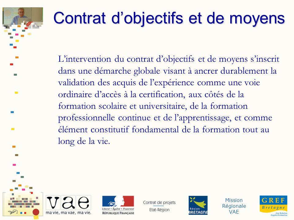 Mission Régionale VAE Lintervention du contrat dobjectifs et de moyens sinscrit dans une démarche globale visant à ancrer durablement la validation de