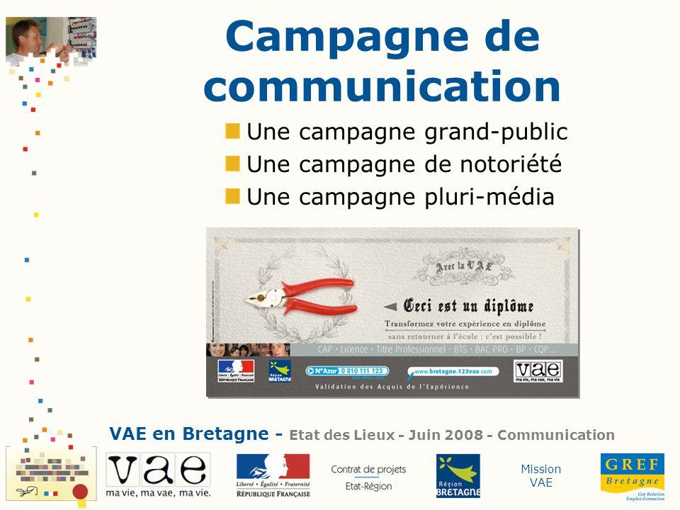 Mission VAE Campagne de communication Une campagne grand-public Une campagne de notoriété Une campagne pluri-média VAE en Bretagne - Etat des Lieux -