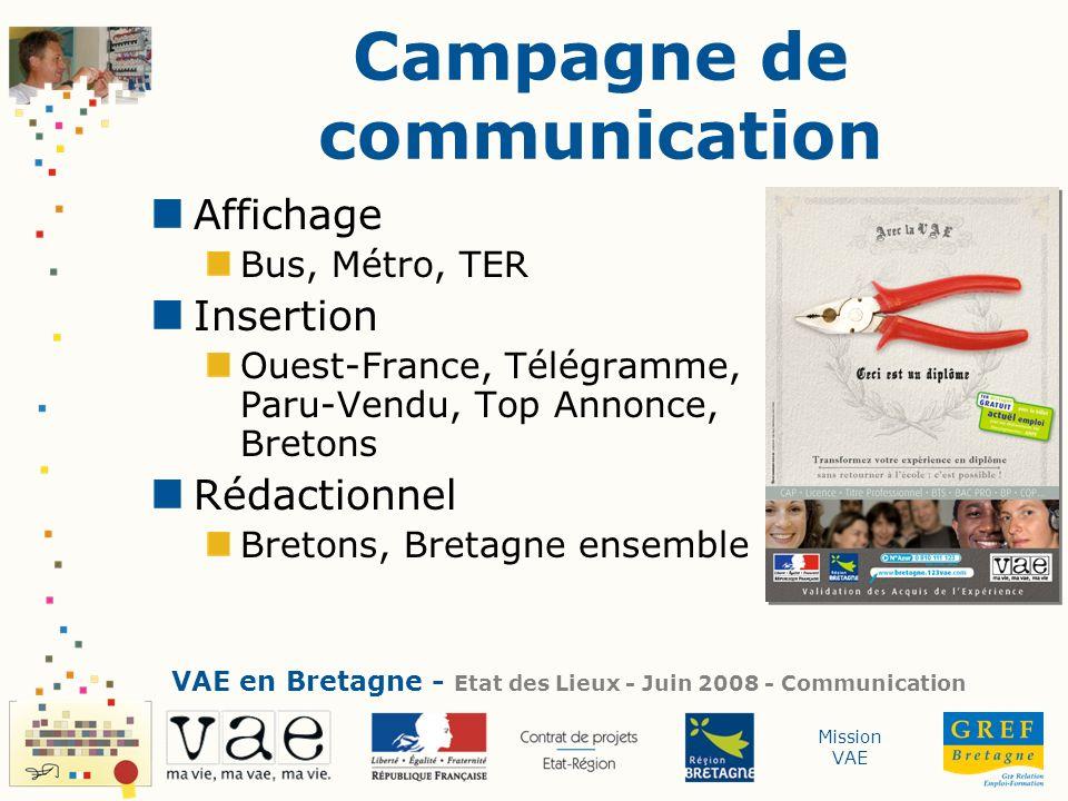 Mission VAE Campagne de communication Affichage Bus, Métro, TER Insertion Ouest-France, Télégramme, Paru-Vendu, Top Annonce, Bretons Rédactionnel Bret