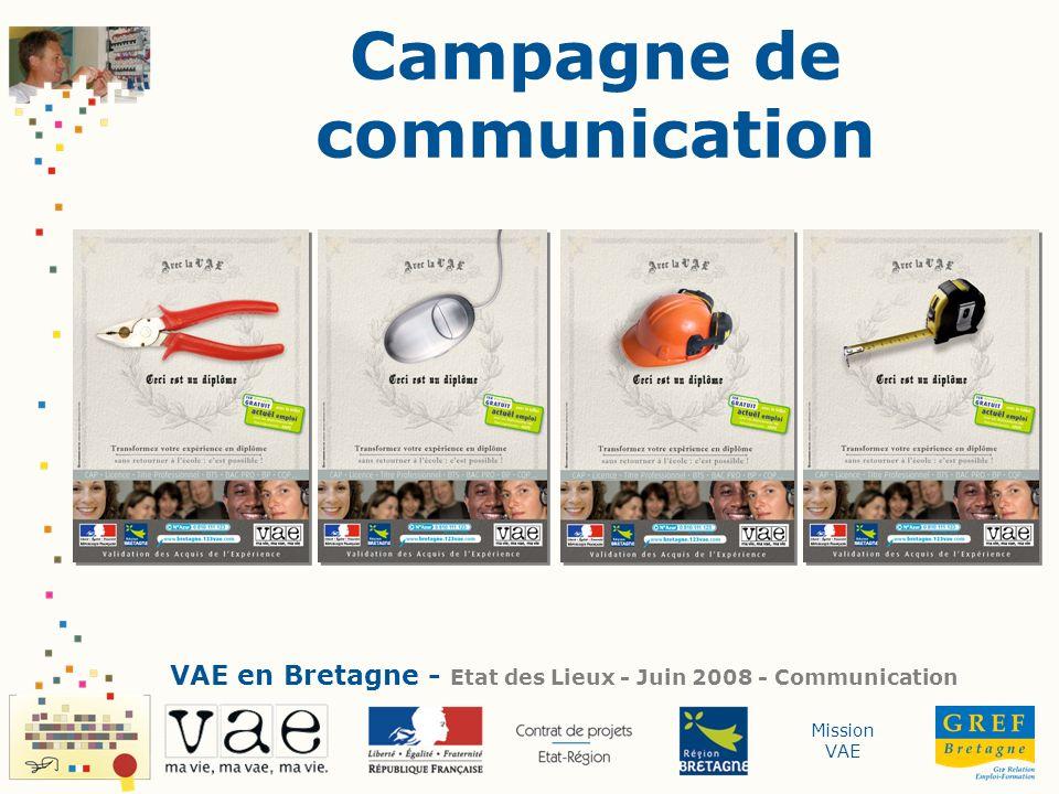 Mission VAE Campagne de communication VAE en Bretagne - Etat des Lieux - Juin 2008 - Communication