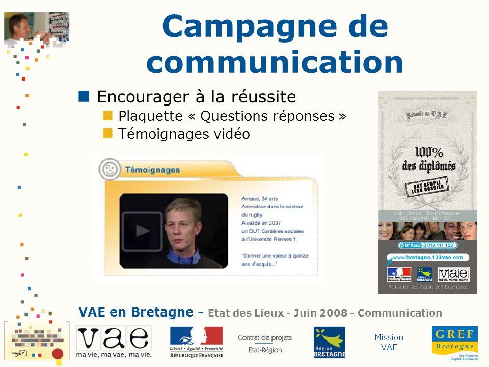 Mission VAE Campagne de communication Encourager à la réussite Plaquette « Questions réponses » Témoignages vidéo VAE en Bretagne - Etat des Lieux - J