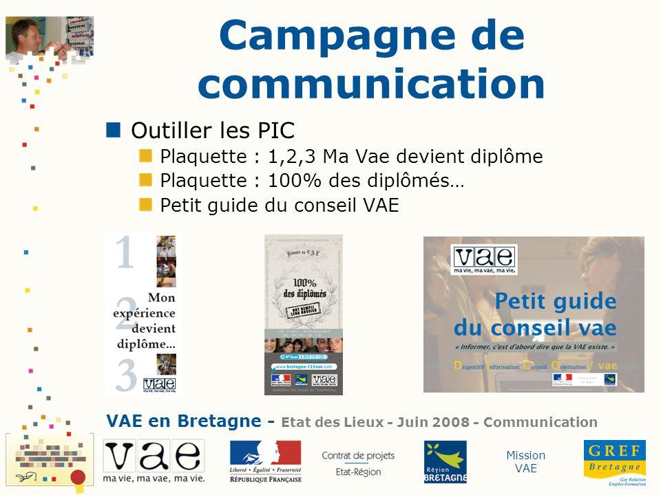 Mission VAE Campagne de communication Outiller les PIC Plaquette : 1,2,3 Ma Vae devient diplôme Plaquette : 100% des diplômés… Petit guide du conseil