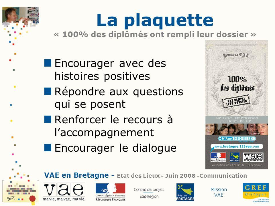 Mission VAE La plaquette « 100% des diplômés ont rempli leur dossier » Encourager avec des histoires positives Répondre aux questions qui se posent Re