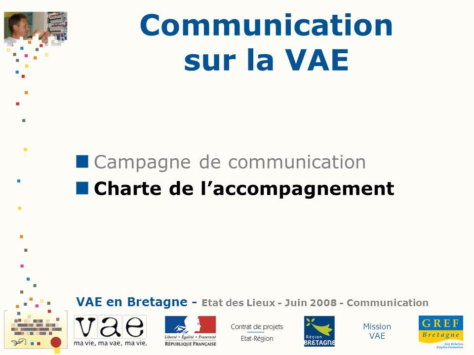 Mission VAE Communication sur la VAE Campagne de communication Charte de laccompagnement VAE en Bretagne - Etat des Lieux - Juin 2008 - Communication