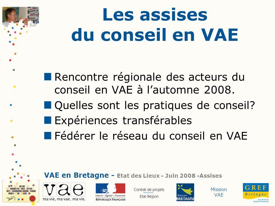 Mission VAE Les assises du conseil en VAE Rencontre régionale des acteurs du conseil en VAE à lautomne 2008. Quelles sont les pratiques de conseil? Ex