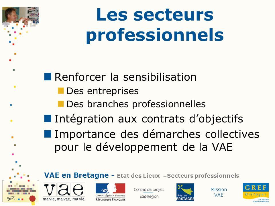 Mission VAE Les secteurs professionnels Renforcer la sensibilisation Des entreprises Des branches professionnelles Intégration aux contrats dobjectifs