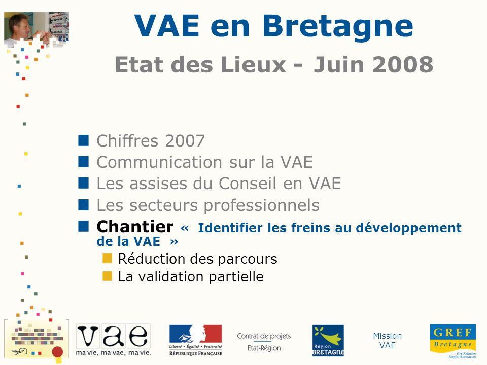 Mission VAE VAE en Bretagne Etat des Lieux - Juin 2008 Chiffres 2007 Communication sur la VAE Les assises du Conseil en VAE Les secteurs professionnel