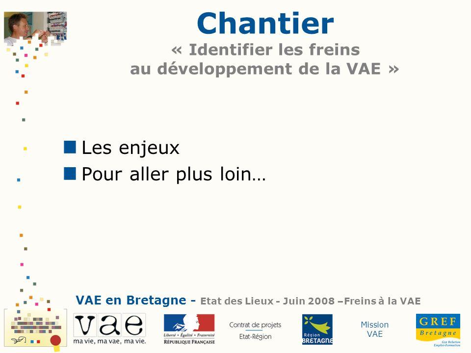 Mission VAE Chantier « Identifier les freins au développement de la VAE » Les enjeux Pour aller plus loin… VAE en Bretagne - Etat des Lieux - Juin 200