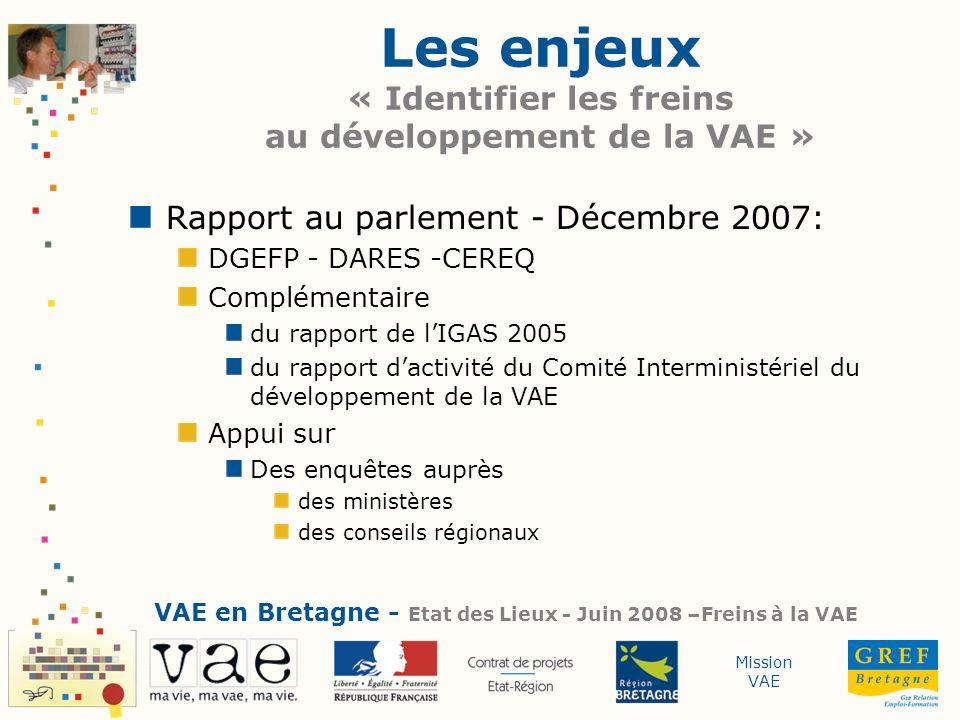 Mission VAE Les enjeux « Identifier les freins au développement de la VAE » Rapport au parlement - Décembre 2007: DGEFP - DARES -CEREQ Complémentaire