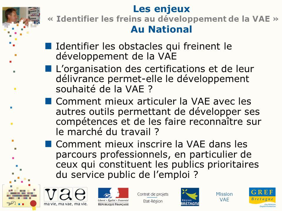 Mission VAE Les enjeux « Identifier les freins au développement de la VAE » Au National Identifier les obstacles qui freinent le développement de la V