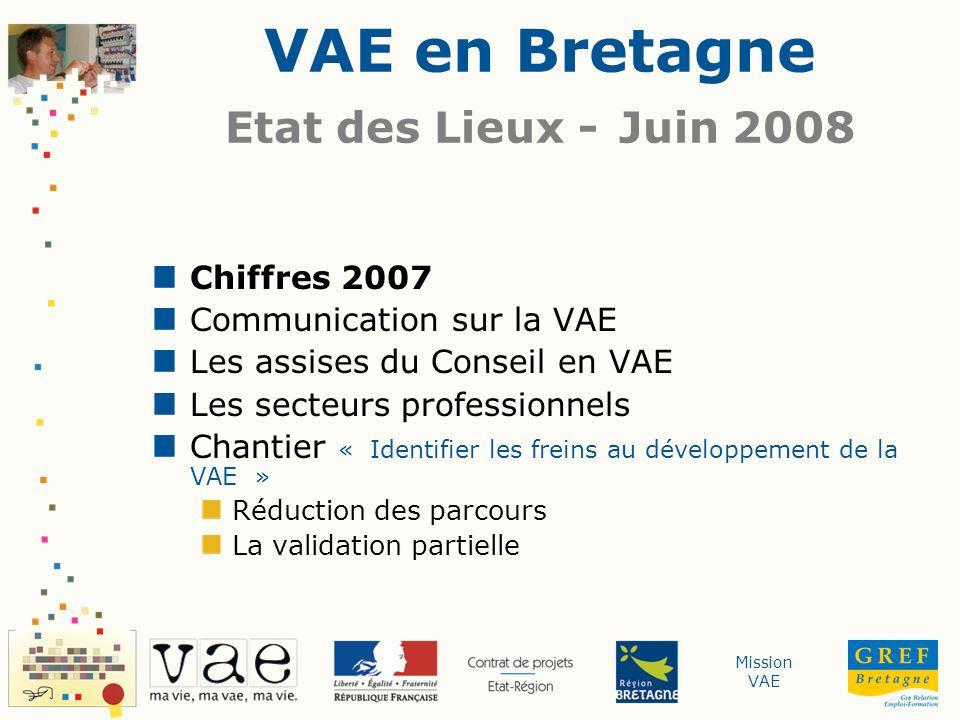 Mission VAE Chiffres 2007 Devant jury Par certificateur Candidat(e)s La validation partielle VAE en Bretagne - Etat des Lieux - Juin 2008 - Chiffres 2007