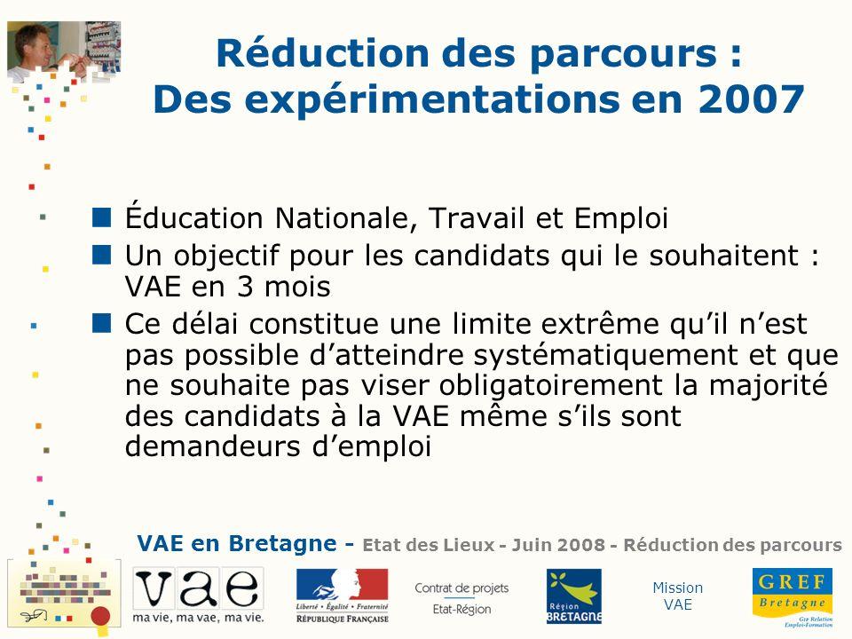 Mission VAE Réduction des parcours : Des expérimentations en 2007 Éducation Nationale, Travail et Emploi Un objectif pour les candidats qui le souhait