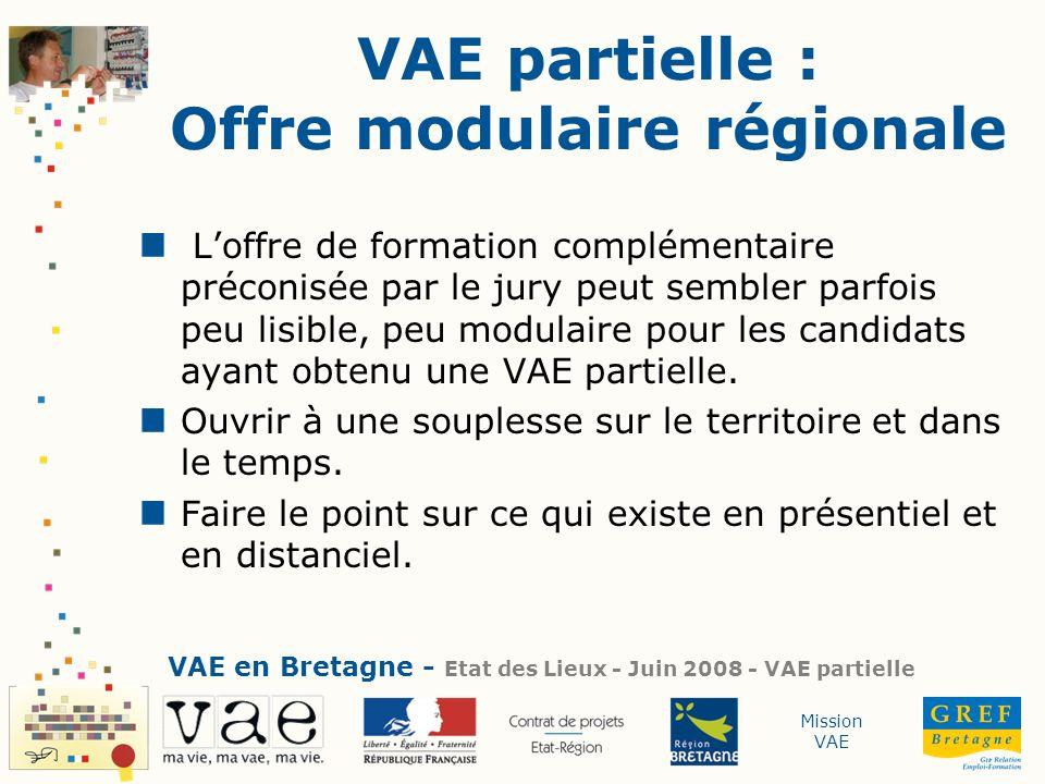Mission VAE VAE partielle : Offre modulaire régionale Loffre de formation complémentaire préconisée par le jury peut sembler parfois peu lisible, peu