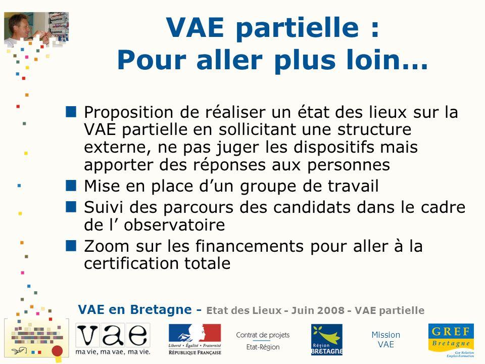 Mission VAE VAE partielle : Pour aller plus loin… Proposition de réaliser un état des lieux sur la VAE partielle en sollicitant une structure externe,