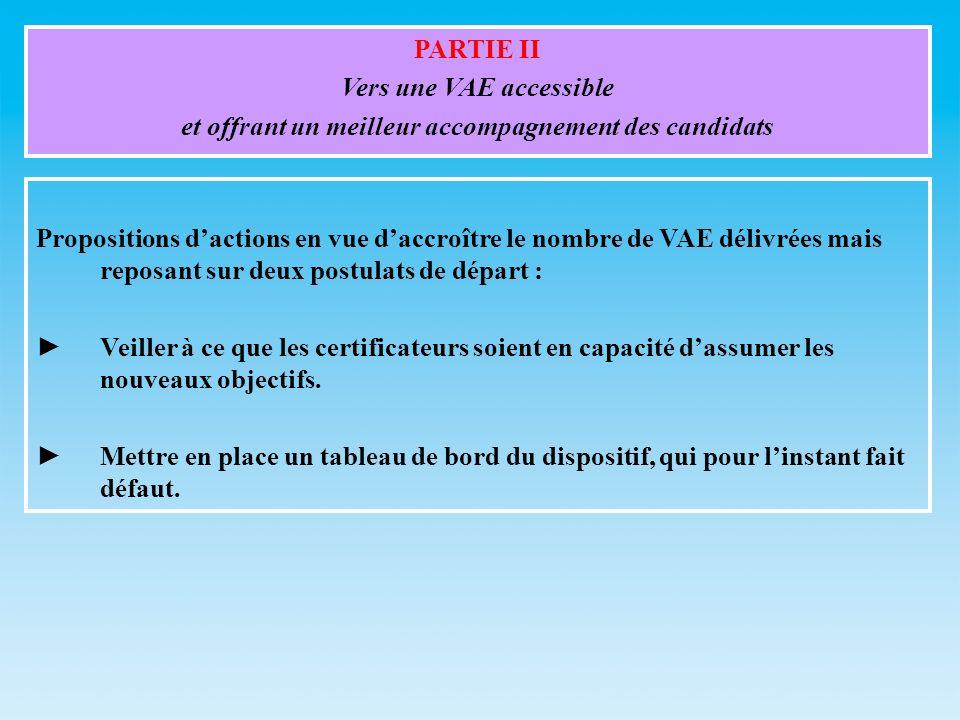 PARTIE II Vers une VAE accessible et offrant un meilleur accompagnement des candidats Propositions dactions en vue daccroître le nombre de VAE délivré