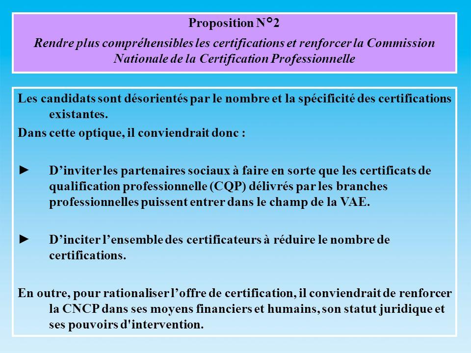 Proposition N°2 Rendre plus compréhensibles les certifications et renforcer la Commission Nationale de la Certification Professionnelle Les candidats sont désorientés par le nombre et la spécificité des certifications existantes.