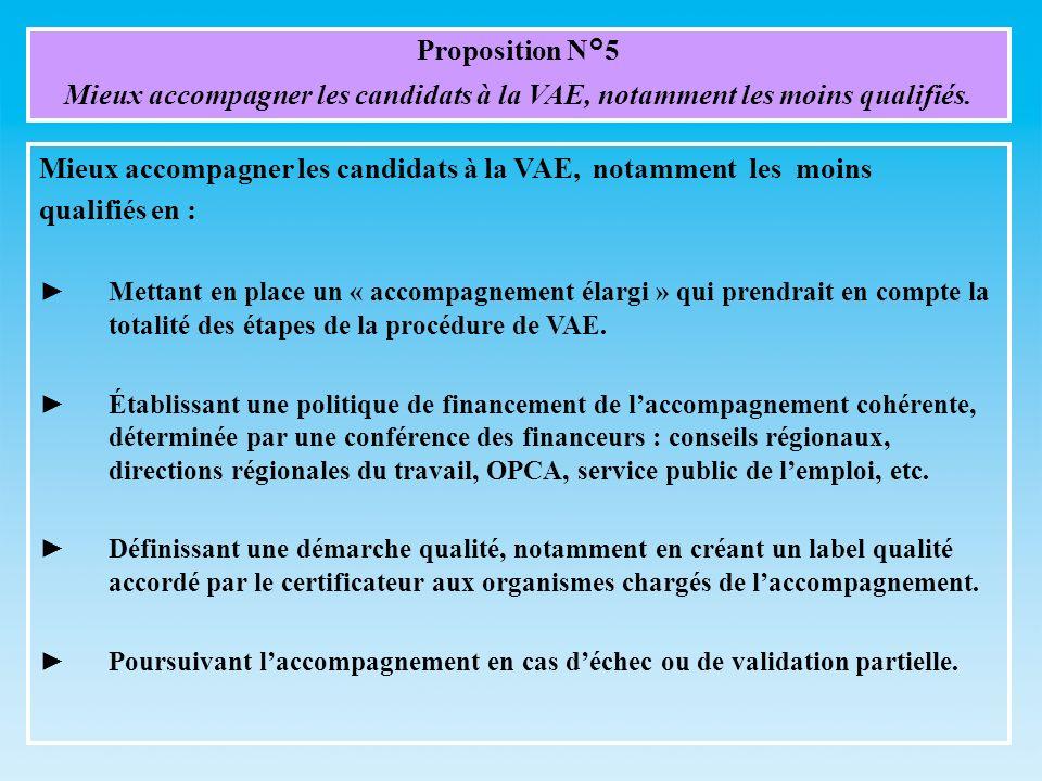 Proposition N°5 Mieux accompagner les candidats à la VAE, notamment les moins qualifiés. Mieux accompagner les candidats à la VAE, notamment les moins
