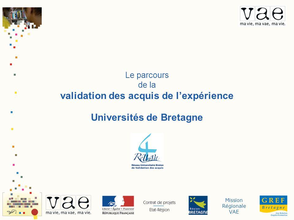 Mission Régionale VAE i Le parcours de la validation des acquis de lexpérience Les Universités de Bretagne ont toutes un bureau REVA (Reprise dEtudes et Validation dAcquis) qui sera votre interlocuteur privilégié tout au long de la validation des acquis de votre expérience.