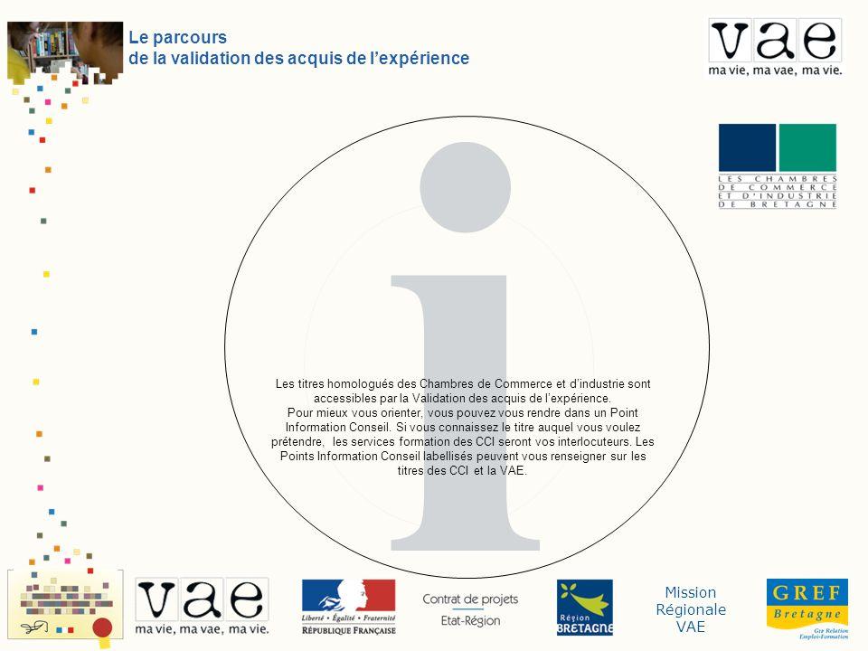 Mission Régionale VAE i Le parcours de la validation des acquis de lexpérience Les titres homologués des Chambres de Commerce et dindustrie sont accessibles par la Validation des acquis de lexpérience.