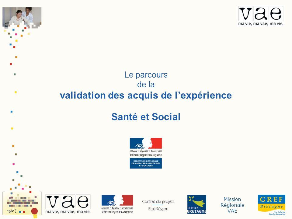 Mission Régionale VAE Le parcours de la validation des acquis de lexpérience Santé et Social
