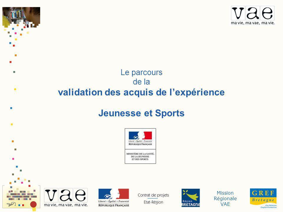 Mission Régionale VAE Le parcours de la validation des acquis de lexpérience Jeunesse et Sports