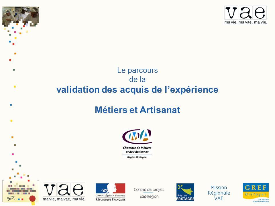 Mission Régionale VAE Le parcours de la validation des acquis de lexpérience Métiers et Artisanat