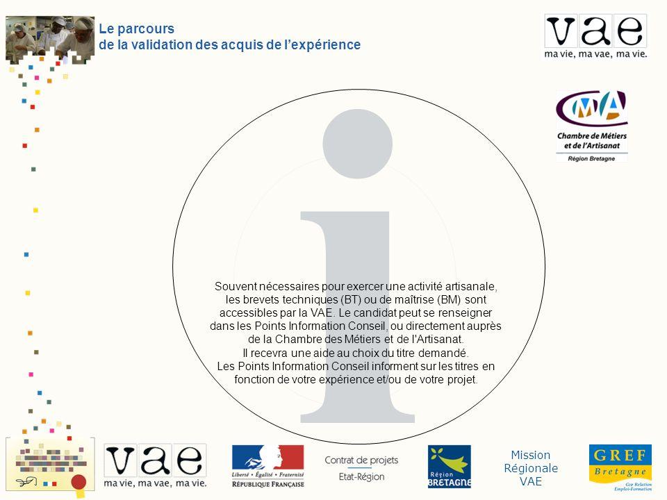 Mission Régionale VAE i Le parcours de la validation des acquis de lexpérience Souvent nécessaires pour exercer une activité artisanale, les brevets t