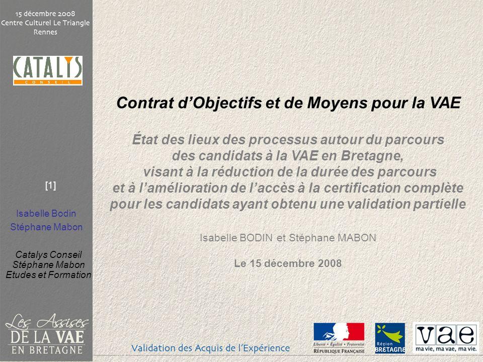 Isabelle Bodin Stéphane Mabon Catalys Conseil Stéphane Mabon Etudes et Formation [1] Contrat dObjectifs et de Moyens pour la VAE État des lieux des pr