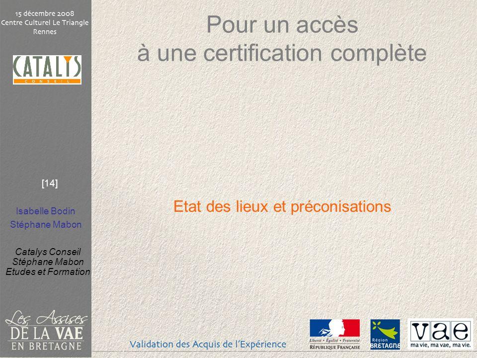 Isabelle Bodin Stéphane Mabon Catalys Conseil Stéphane Mabon Etudes et Formation [14] Pour un accès à une certification complète Etat des lieux et pré