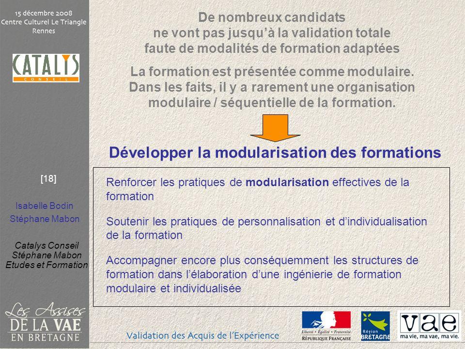 Isabelle Bodin Stéphane Mabon Catalys Conseil Stéphane Mabon Etudes et Formation [18] Développer la modularisation des formations Renforcer les pratiq