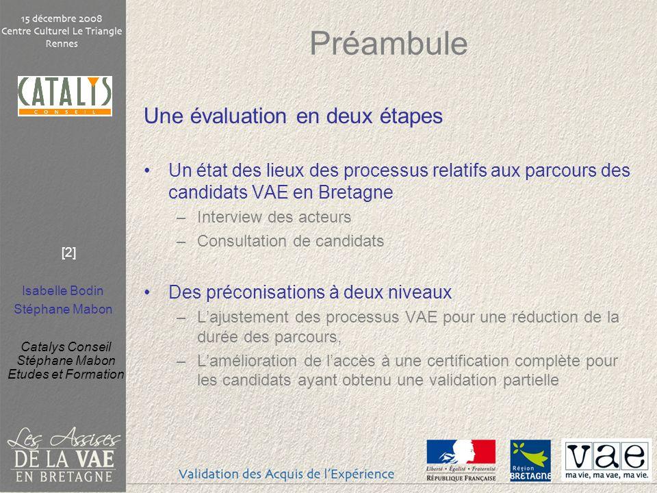 Isabelle Bodin Stéphane Mabon Catalys Conseil Stéphane Mabon Etudes et Formation [3] Pour une réduction des parcours VAE Etat des lieux et préconisations