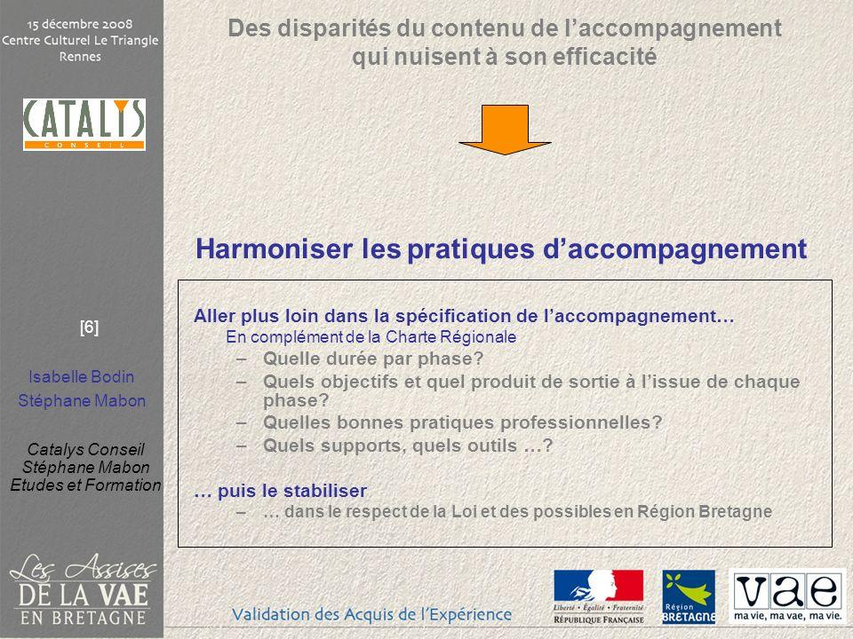 Isabelle Bodin Stéphane Mabon Catalys Conseil Stéphane Mabon Etudes et Formation [6] Harmoniser les pratiques daccompagnement Aller plus loin dans la