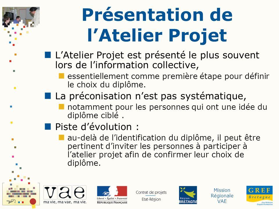 Mission Régionale VAE Présentation de lAtelier Projet LAtelier Projet est présenté le plus souvent lors de linformation collective, essentiellement comme première étape pour définir le choix du diplôme.