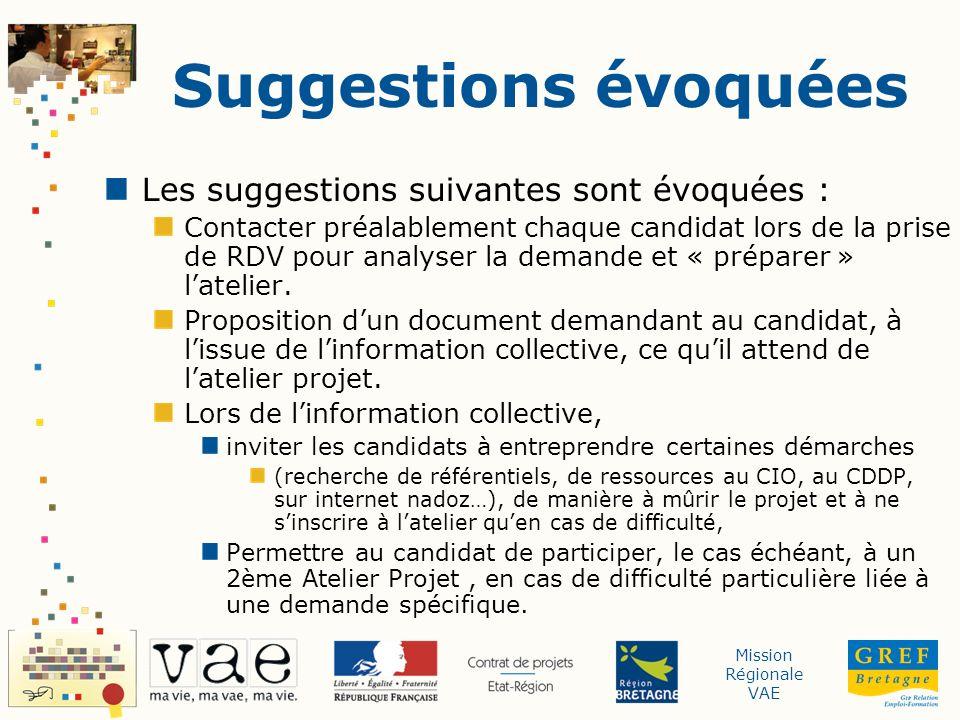 Mission Régionale VAE Suggestions évoquées Les suggestions suivantes sont évoquées : Contacter préalablement chaque candidat lors de la prise de RDV pour analyser la demande et « préparer » latelier.