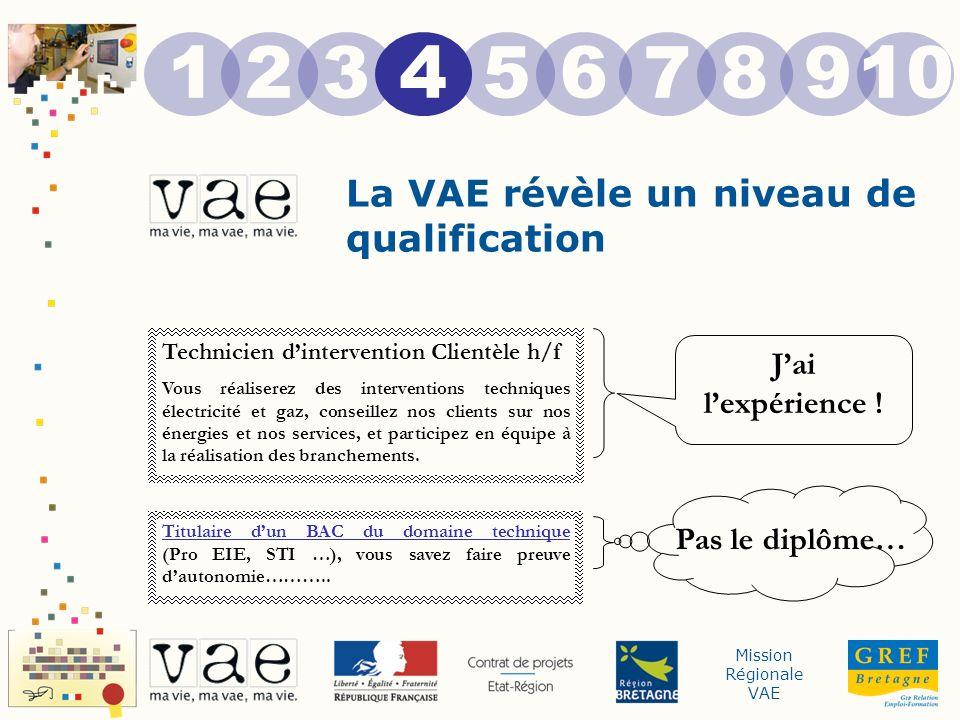 Mission Régionale VAE La VAE révèle un niveau de qualification 12345678910 Technicien dintervention Clientèle h/f Vous réaliserez des interventions te
