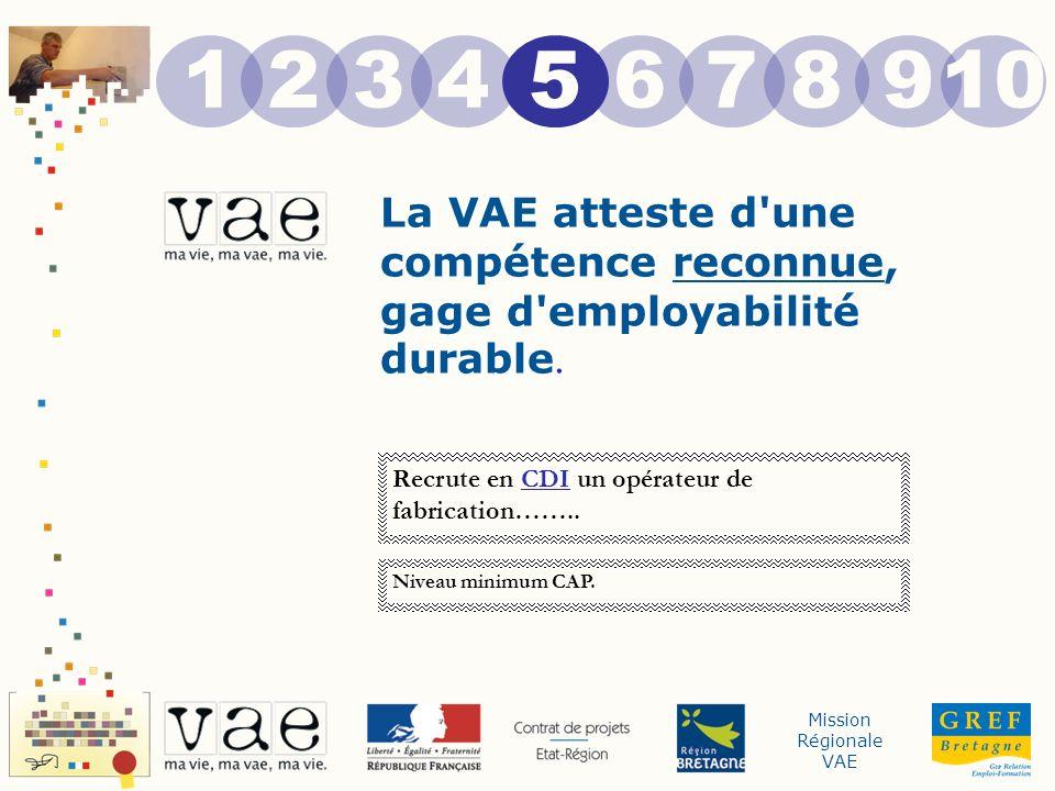Mission Régionale VAE La VAE atteste d'une compétence reconnue, gage d'employabilité durable. 12 5 43678910 Recrute en CDI un opérateur de fabrication