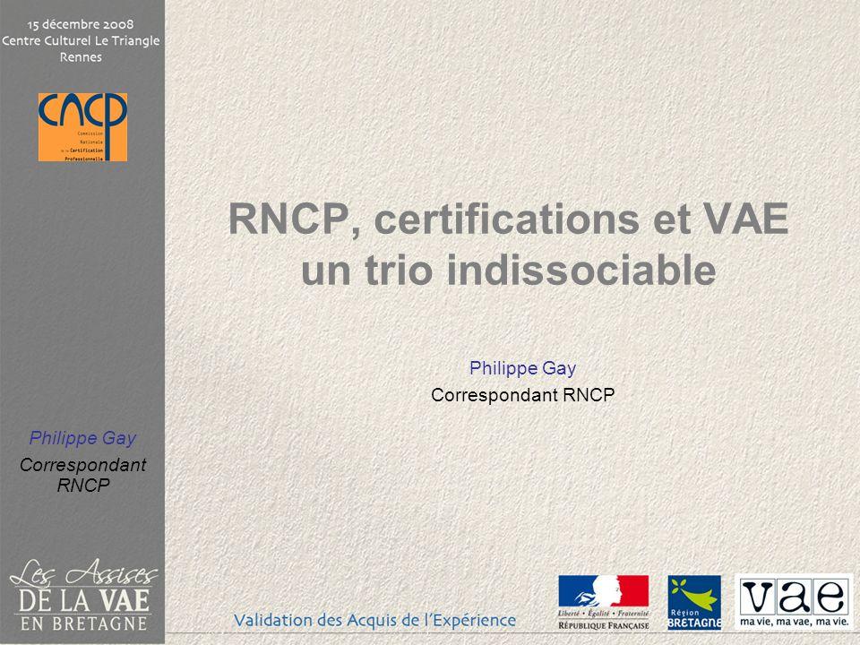 Philippe Gay Correspondant RNCP Le rôle et la fonction du RNCP dans une démarche de VAE Rennes, 15 décembre 2008