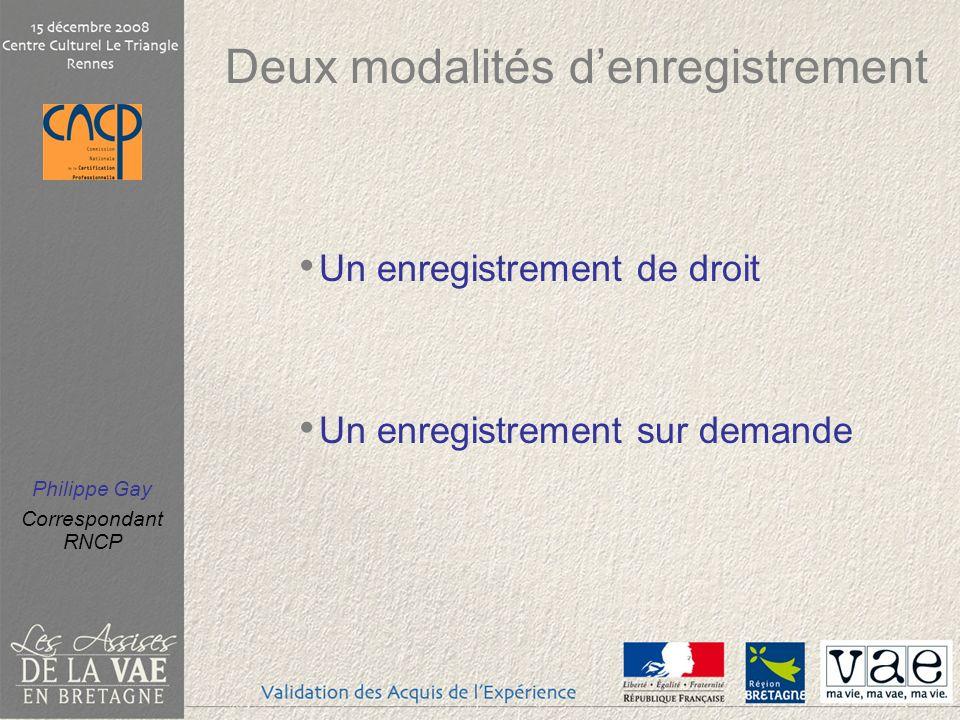 Philippe Gay Correspondant RNCP Deux modalités denregistrement Un enregistrement de droit Un enregistrement sur demande