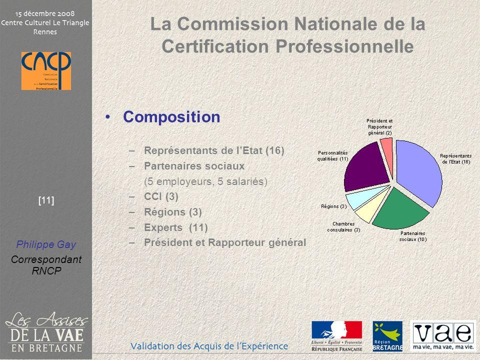 Philippe Gay Correspondant RNCP [11] La Commission Nationale de la Certification Professionnelle Composition –Représentants de lEtat (16) –Partenaires sociaux (5 employeurs, 5 salariés) –CCI (3) –Régions (3) –Experts (11) –Président et Rapporteur général