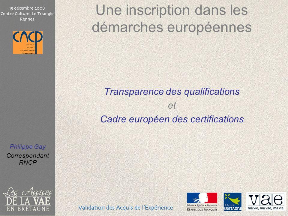 Philippe Gay Correspondant RNCP Une inscription dans les démarches européennes Transparence des qualifications et Cadre européen des certifications