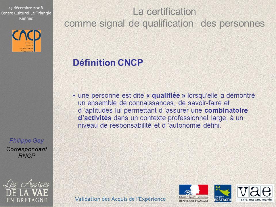 Philippe Gay Correspondant RNCP [17] www.cncp.gouv.fr