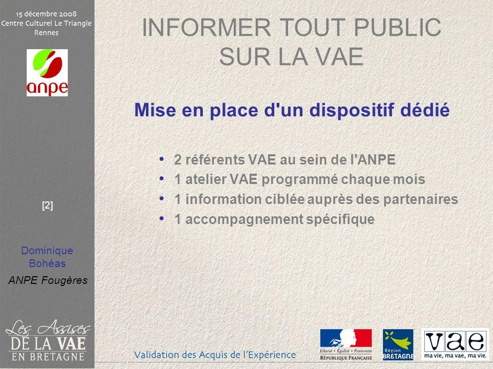 Dominique Bohéas ANPE Fougères [2] INFORMER TOUT PUBLIC SUR LA VAE Mise en place d'un dispositif dédié 2 référents VAE au sein de l'ANPE 1 atelier VAE