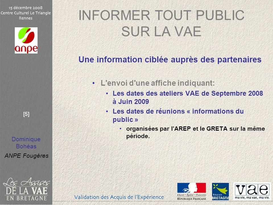 Dominique Bohéas ANPE Fougères [5] INFORMER TOUT PUBLIC SUR LA VAE Une information ciblée auprès des partenaires L'envoi d'une affiche indiquant: Les