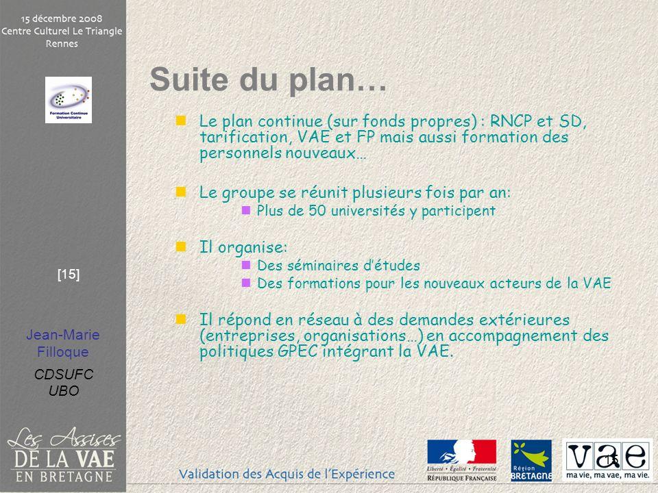 Jean-Marie Filloque CDSUFC UBO [15] 15 Le plan continue (sur fonds propres) : RNCP et SD, tarification, VAE et FP mais aussi formation des personnels