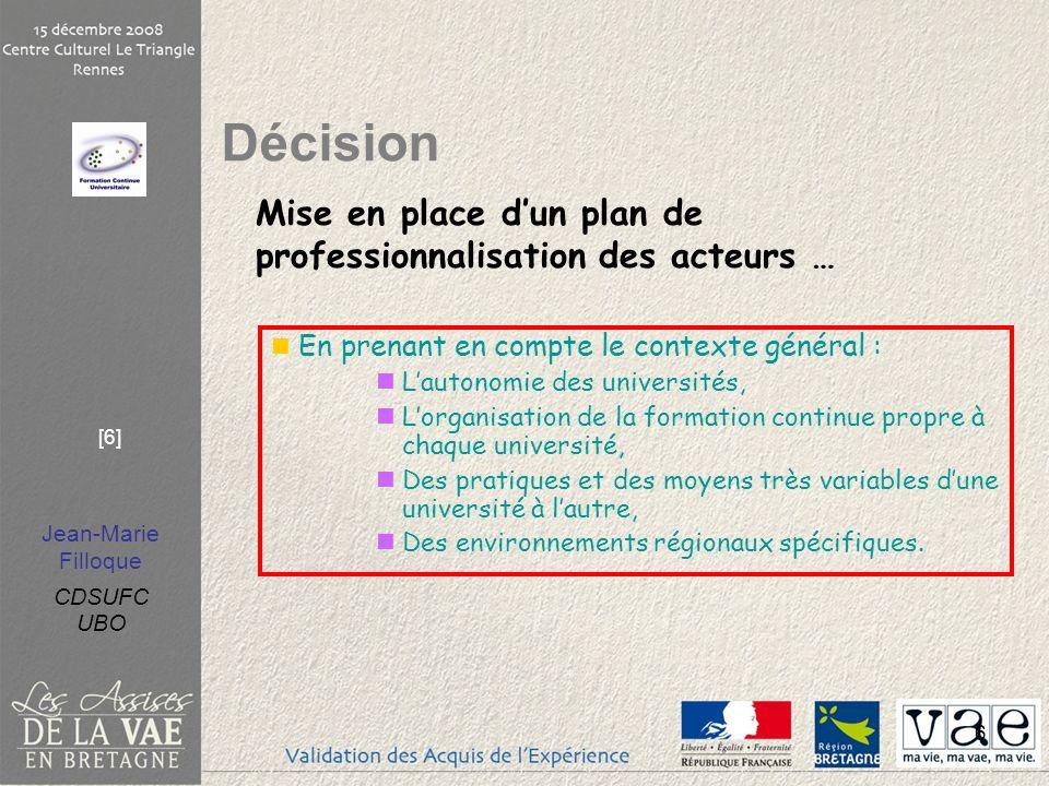 Jean-Marie Filloque CDSUFC UBO [6] 6 En prenant en compte le contexte général : Lautonomie des universités, Lorganisation de la formation continue pro
